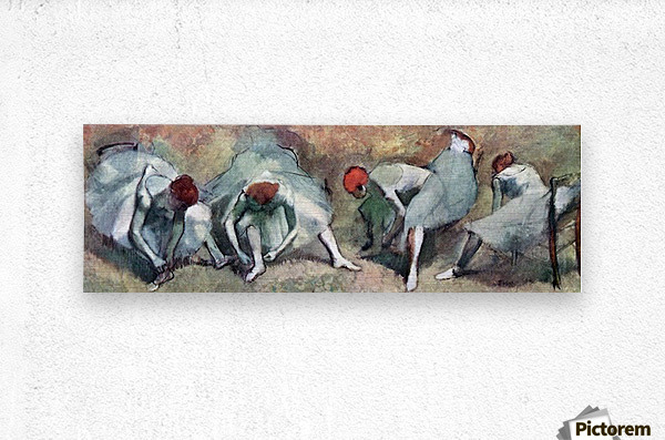Dancers lace their shoes by Degas  Metal print