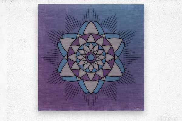 Simple Vintage Glow Mandala Solid  Metal print