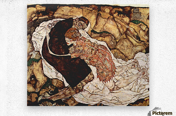 Death and the Woman by Schiele  Metal print