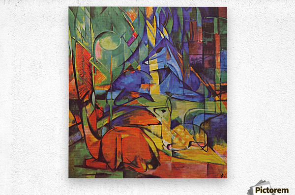 Deer in Forest by Franz Marc  Metal print