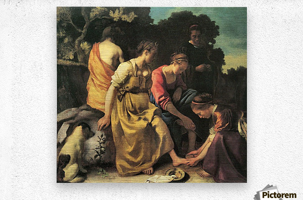 Diana and her nymphs by Vermeer  Metal print