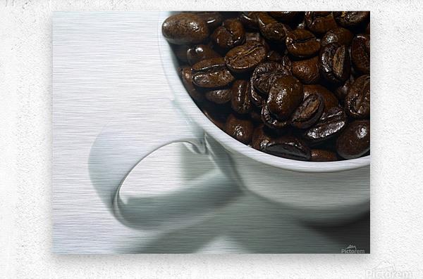 Coffee Beans in white mug  Metal print