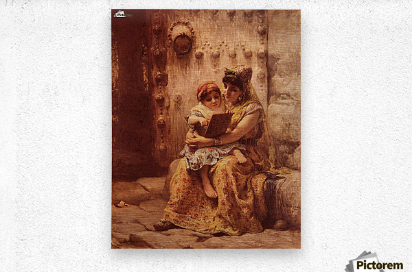 The Reading Lesson  Metal print
