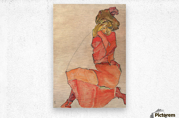 Egon Schiele - Kneeling Woman in Orange-Red Dress  Metal print