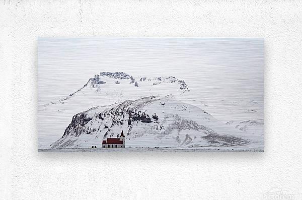Distant Iceland Church  Metal print