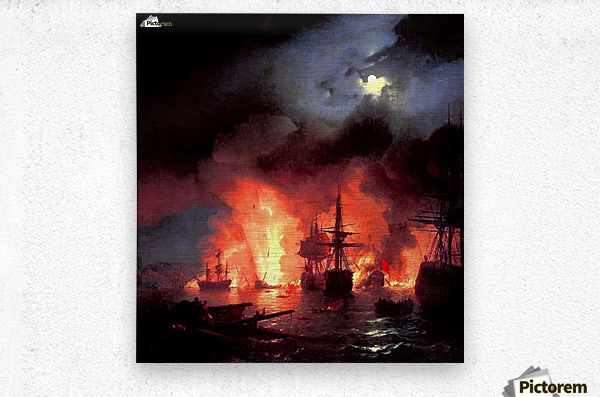 Battle of Cesme at Night  Metal print