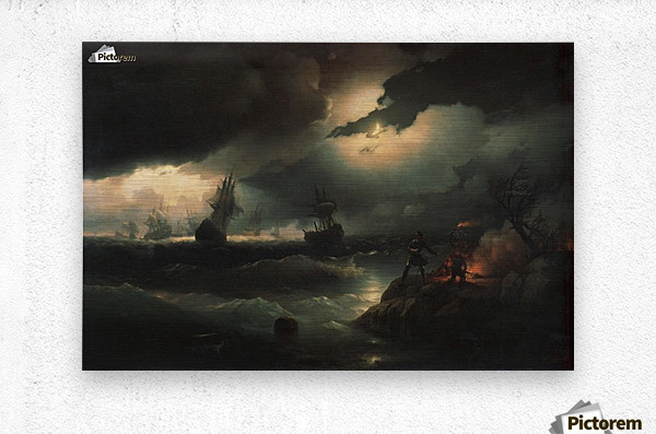 Peter I at Krasnaya Gorka Setting Fire on the Shore to Give a Signal to his Perishing Vessels  Metal print