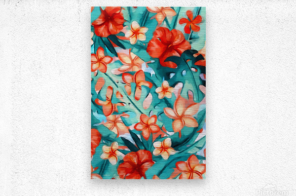 Vibrant Tropical Floral   Metal print