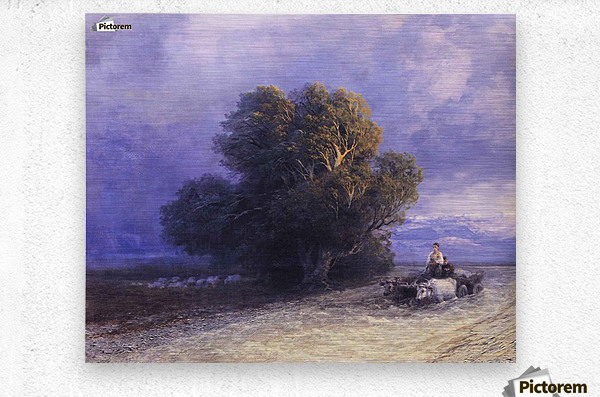 Ox Cart Crossing a Flooded Plain  Metal print