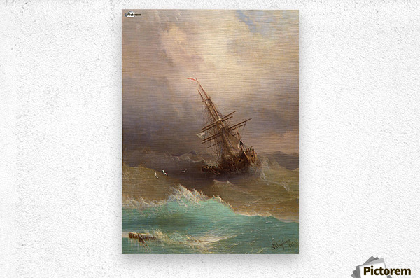Ship in the Stormy Sea  Metal print