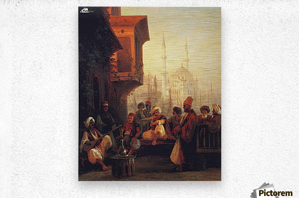 Coffee house by the Ortakoy Mosque in Constantinople  Metal print