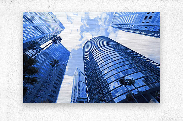 Skyscrapers reflections clouds  Metal print