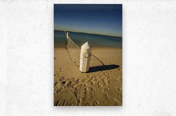 Shark Net Corner Post Perspective Brighton le Sands Australia.  Metal print