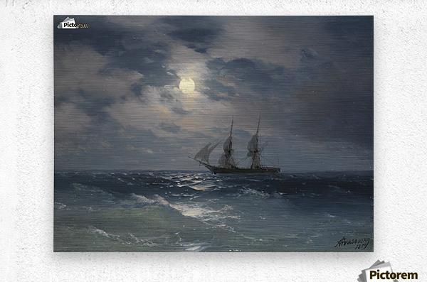 The Brig Mercury in moonlight  Metal print