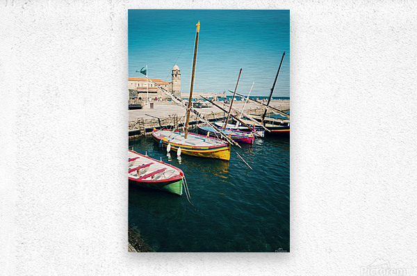 Collioure harbour Anchovy Fishing boats.  Metal print