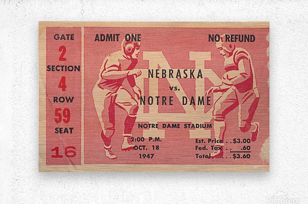 1947 Nebraska vs. Notre Dame  Metal print
