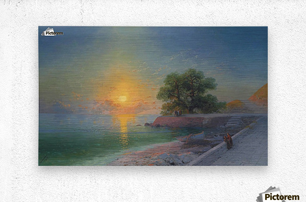 Promenade at sunset  Metal print