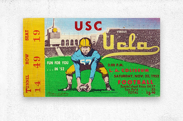 1952 USC vs. UCLA  Metal print