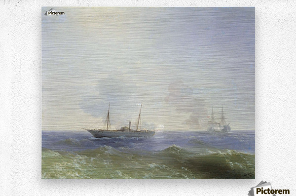 Battle of steamship Vesta and Turkish ironclad  Metal print