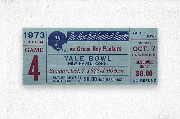 1973_National Football League_New York Giants vs. Green Bay Packers_Yale Bowl_Row One  Metal print