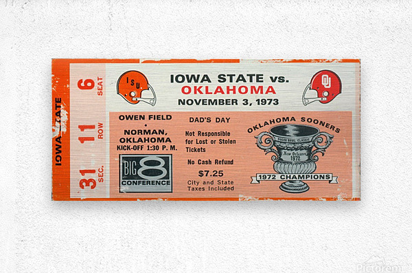 1973_College_Football_Oklahoma vs. Iowa State_Owen Field_Norman_Row One  Metal print