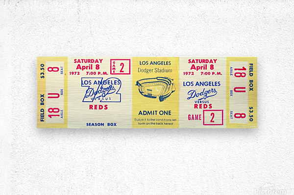 1972_Major League Baseball_Reds vs. Los Angeles Dodgers_Dodger Stadium_Los Angeles_Row One  Metal print