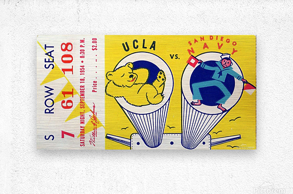 1954 Navy vs. UCLA Bruins Football Ticket Stub  Metal print