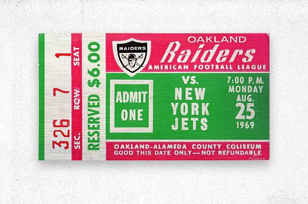 1969 New York Jets vs. Oakland Raiders Ticket Stub   Metal print