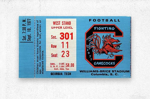 1977_College_Football_Georgia Tech vs. South Carolina_Williams Brice Stadium_Row One Brand  Metal print