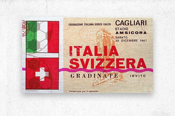 1967_Soccer_Italy vs. Switzerland_Cagliari Stadium_Row One  Metal print