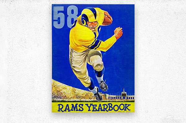 1958 LA Rams Football Yearbook Cover Art  Metal print