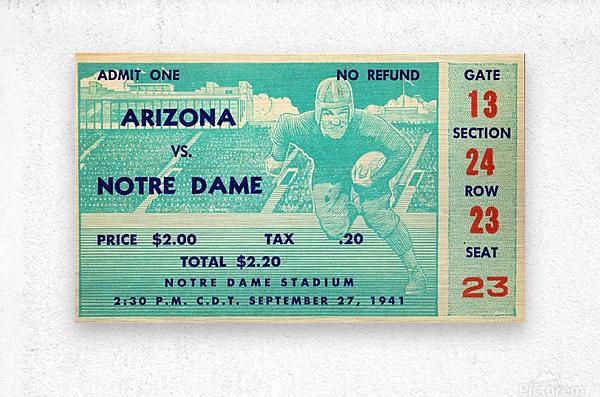 1941_College_Football_Arizona vs. Notre Dame_Notre Dame Stadium_South Bend_Row One Brand  Metal print