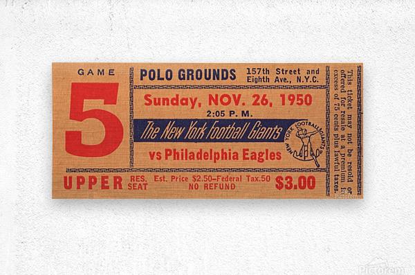 1950_National Football League_Philadelphia Eagles vs. New York Giants_Polo Grounds_NYC_Row One Brand  Metal print