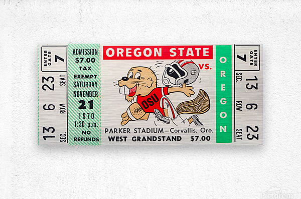 1970_College_Football_Oregon vs. Oregon State_Parker Stadium_Corvallis_Row One Brand  Metal print