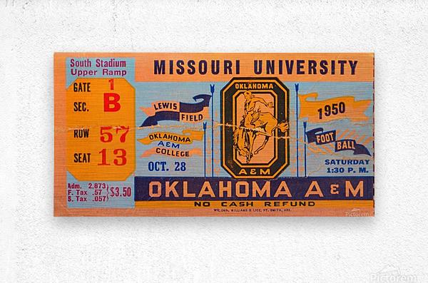 1950_College_Oklahoma vs. Oklahoma State_Lewis Field_Stillwater_Row One Brand  Metal print