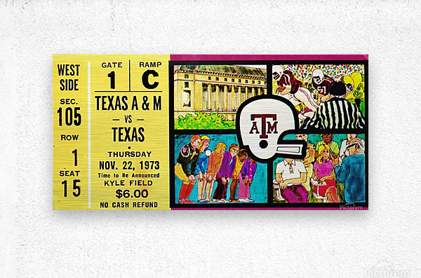 1973_College_Football_Texas vs. Texas A&M_Kyle Field_College Station_Row One Brand  Metal print