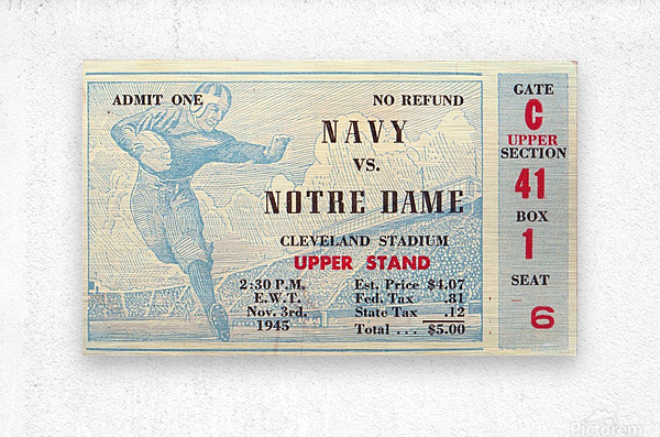 1945_College_Football_Navy vs. Notre Dame_Cleveland Stadium_Row One Brand Notre Dame  Metal print