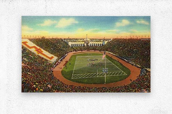 Vintage Los Angeles Coliseum USC Trojans Football Art  Metal print
