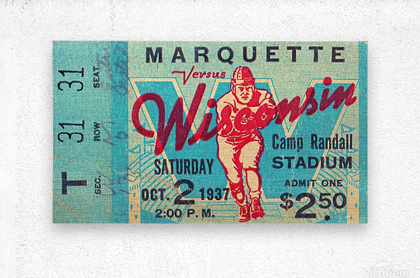 1937_College_Football_Marquette vs. Wisconsin_Camp Randall Stadium_Madison_Row One Tickets Row 1  Metal print