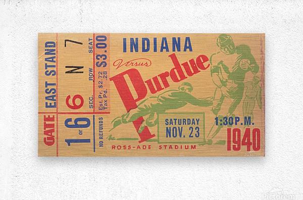 1940 Indiana vs. Purdue Football Ticket Canvas  Metal print
