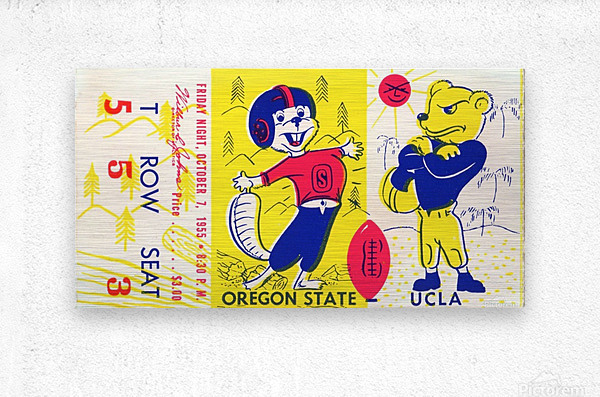 1955_College_Football_Oregon State vs. UCLA_Los Angeles Coliseum_Row One Brand  Metal print