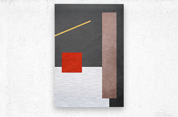 Textured Shapes 03 - Abstract Geometric Art Print  Metal print