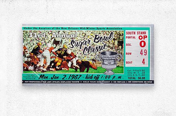 1967_College_Football_Sugar Bowl_Nebraska vs. Alabama_Tulane Stadium_Row One Brand Ticket Stub Art  Metal print