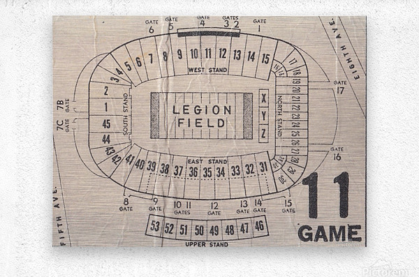 Legion Field Stadium Map Art_Vintage College Football Map Art  Metal print