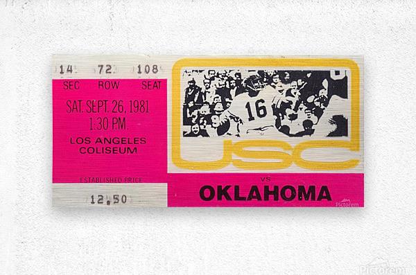1981_College Football Art_USC vs. Oklahoma_Los Angeles Coliseum_College Football Rivalry Ticket  Metal print