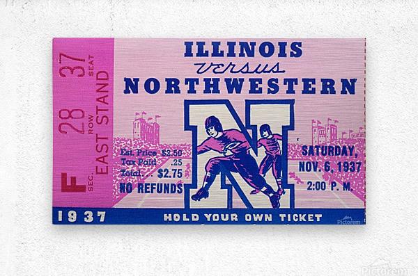 1937_College Football Collection_Northwestern vs. Illinois_Historic Dyche Stadium Evanston_Ticket  Metal print