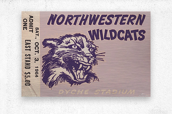 Northwestern University Wildcats College Football Wall Art Ticket Stub  Metal print