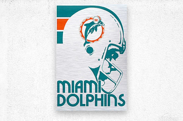 National Football League_Retro Miami Dolphins 1970s Art Reproduction  Metal print