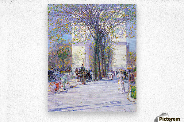 Washington triumphal arch in spring by Hassam  Metal print
