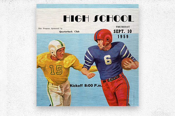 1959 High School Football  Metal print